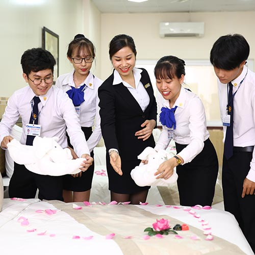 Hospitality management students are studying housekeeping practices
